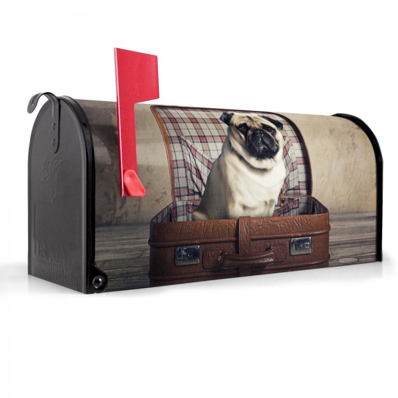 Banjado Briefkasten Amerikanisch U.S. Mailbox schwarz Stahl Motiv Mops im Koffer