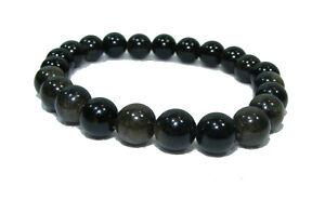 Bracelet de perles OBSIDIENNE Pierres naturelles 8 mm 18cm / sur mesure
