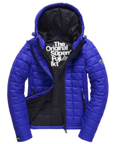 Da donna Superdry Hooded BOX QUILT FUJI Giacca Cappotto rrp £ 90