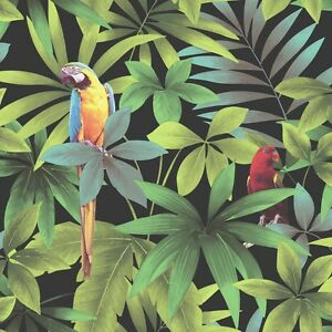 Image Is Loading Tropical Jungle Parrot Macaw Birds Botanical Vinyl Feature