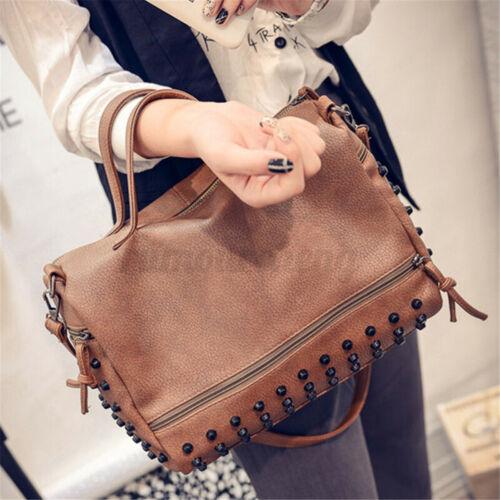 US Women Leather Rivet Tote Travel Handbag Shoulder Bag Crossbody Satchel Purse