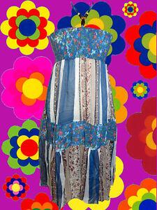 84-Patchwork-Neckholder-Hippie-Kleid-dress-Boho-Blumen-Jeans-Holzperlen-Gr-M