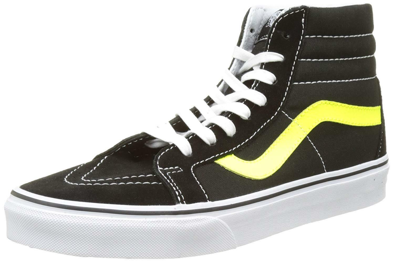 455ea536ae Vans Unisex Sk8-Hi Sk8-Hi Sk8-Hi Reissue Skate Shoes-Black Neon ...