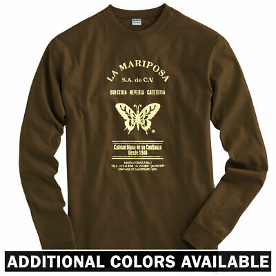 Youth La Mariposa Long Sleeve T-shirt LS Butterfly Vintage Queretaro MX  Men