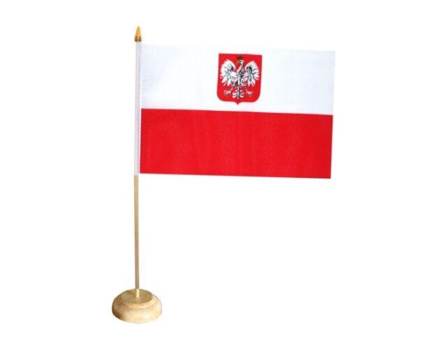Polen 15x25 cm Tischflagge optional mit 42 cm Holz Tischflaggenhalter wei/ß lackiert edle Ausf/ührung W