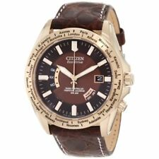 Citizen Watch Men's Limited Edition World Perpetual A-t Eco-drive Brown Leather Strap 45mm Cb0003-08x
