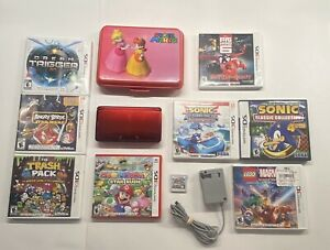 Nintendo-3DS-Flame-Red-Handheld-w-Case-Charger-9-Games-Mario-Sonic-Marvel