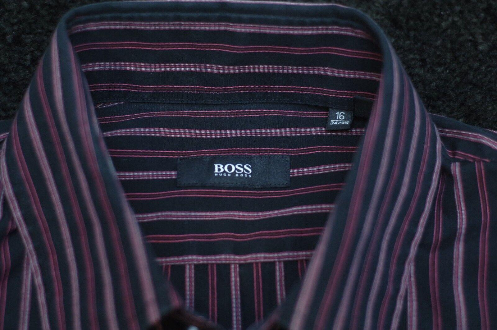 Hugo Boss Uomo Nero & rosa Striscia di Cotone Camicia Camicia Camicia 16 X b4e3aa