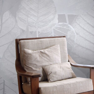 Wallpaper-roll-gray-silver-metallic-modern-floral-tropical-leaves-wall-coverings