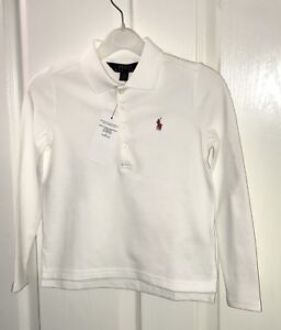 057d27c4 Ralph Lauren Girls White Long Sleeve Polo Top Size 5 Years New With ...