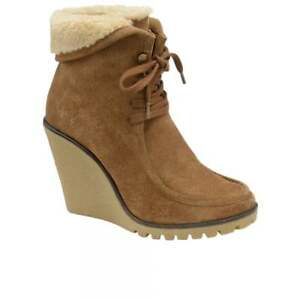 6 Ravel Warm Suede Troy Fur High Winter Uk Ankle Wedge Heel Tan Ladies Boots 5xOp8qw