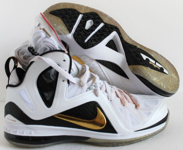 sports shoes 5fc94 e8839 NIKE LEBRON 9 P.S ELITE JAMES HOME WHITE-GOLD-BLACK SZ 12  516958