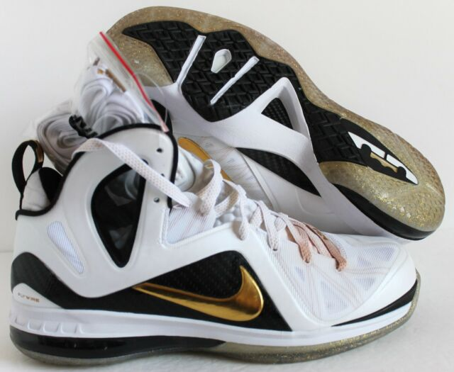 sports shoes 5e5ba 5febc NIKE LEBRON 9 P.S ELITE JAMES HOME WHITE-GOLD-BLACK SZ 12  516958