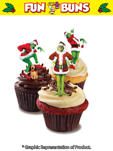 half off 5a971 c6ecf Details about Novelty GRINCH MIX Standup Cake Toppers. Novelty Fun  CHRISTMAS Edible Wafer