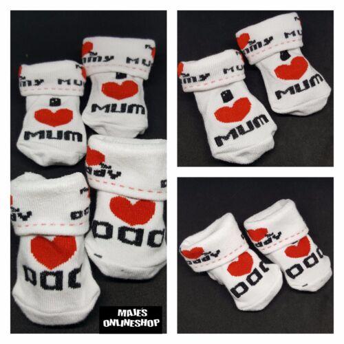 Baby Socken Neugeborenes Socken I Love Dad I Love Mam Neu