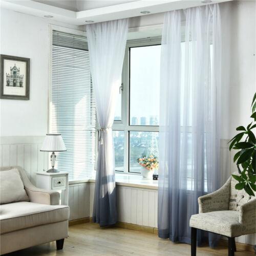 Sheer Screen Curtain Panel Balcony Door Window Bedroom Living Room Leaf Valances