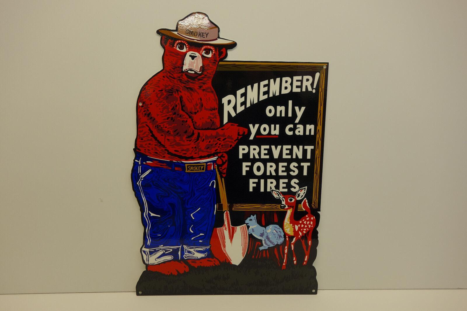 Esmalte de acero SMOKEY THE BEAR recordar solamente puedes prevenir signo 21 X 14 1 4