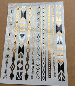 1 foglio temporanei metallico impermeabile tatuaggio oro for Foglio metallico