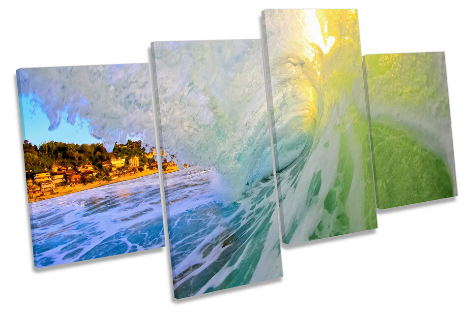 CRASH BEACH WAVE AQUA AQUA AQUA CANVAS Wall Art Multi Box incorniciato f58726