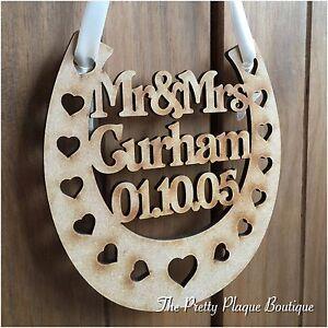 Image Is Loading PERSONALISED WEDDING PLAQUE WOODEN HORSESHOE BRIDAL GIFT KEEPSAKE