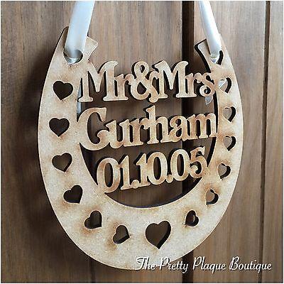 PERSONALISED WEDDING PLAQUE/ WOODEN HORSESHOE/ BRIDAL GIFT/ KEEPSAKE GOOD LUCK