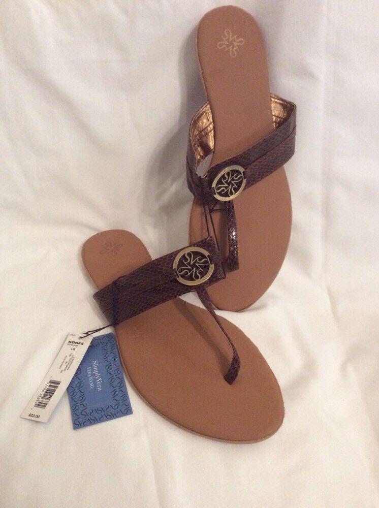 NWT Womens SIMPLY VERA by VERA sandals WANG sz LG 9-10 sandals VERA Tan & Brown Kohl's G30 f735e7