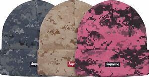 34977183269b2 SUPREME Digi Camo Beanie Navy Tan Pink box logo camp cap tnf F W 17 ...