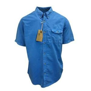 Timberland-Men-039-s-Blue-Print-S-S-Woven-Shirt-Retail-60