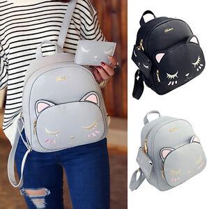 5e884a2c30 Image is loading Fashion-Cute-Women-Girls-PU-Leather-Backpack-Rucksack-
