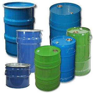 Stahlblechbehä<wbr/>lter Hobbock 30 bis 120 Liter Spundfass Deckelfass Trommel NEUWARE