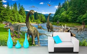 3D Dinosaur River Tree Paper Wall Print Wall Decal Wall Deco Indoor Murals