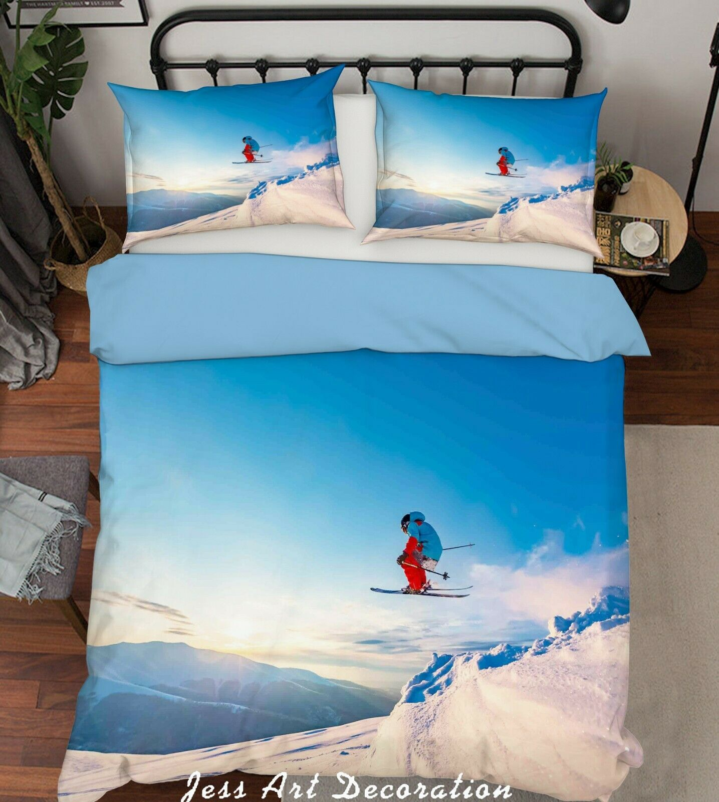 3D Ski Snow Quilt Cover Comforter Cover Duvet Cover Double Queen King 3pcs 184