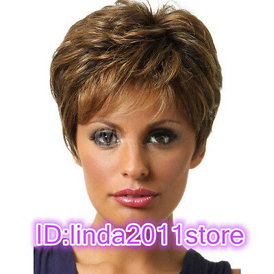 Sexy Fashion Women's ladies short Brown mixed Natural Hair full wigs+Wig cap