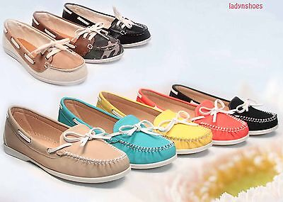 Women's Lacing Slip On Boat Round Toe Moccasin Flat Sandal Shoes Size 5.5 - 11
