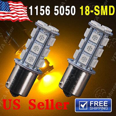 2x Amber/Yellow 1156 BA15S 18SMD Tail Brake Backup Reverse LED Light bulbs 7527