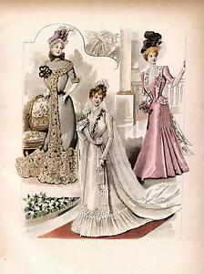 5-Victorian-Edwardian-Wedding-Dress-Fashion-Prints-Reproduction-Pictures-NEW-Set