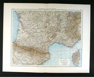 Map Of Southern Spain And France.1896 Andrees Map South France Riviera Pyrenees North Spain Ebay