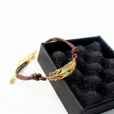 Womens Leaf Beads Wristband Multilayer Bracelet Weave Wrap Leather Chain Gift