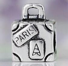 Paris SUITCASE Charm For Bracelets Silver Plated