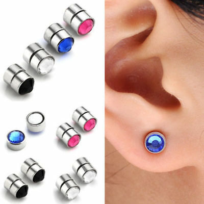 Pair Stainless Steel Fake Magnetic Crystal Nose Ear Lip Stud Clip Non Piercing