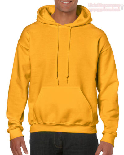 GOLD adulto Gildan Tinta Unita con Cappuccio Heavy Blend Felpa Pullover Maglia Uomo Felpa con Cappuccio