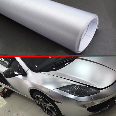 """60/"""" x 60/"""" Silver Brushed Aluminum Vinyl Film Wrap Sticker Decal Air Bubble Free"""