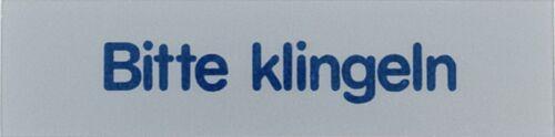 BITTE KLINGELN 1 ST 0,5MM MINI-WORTSCHILDER  KUNSTSTOFF  8CM 2CM SILBER SELBST