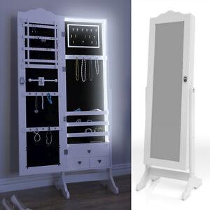 spiegelschrank schmuckschrank standspiegel wei schmuck schrank spiegel led ebay. Black Bedroom Furniture Sets. Home Design Ideas
