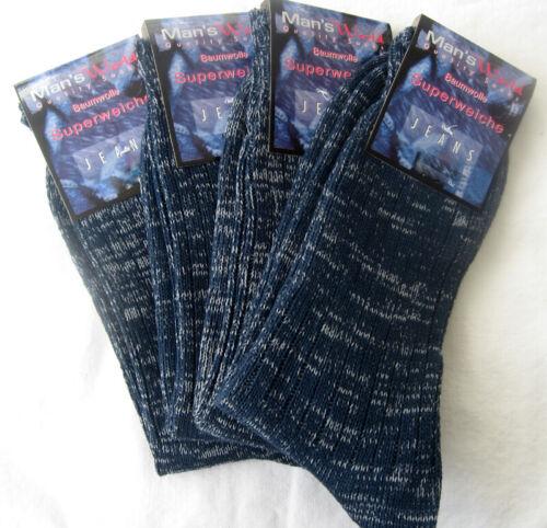 4 Pair Men/'s Jeans Socks Blue Melange 100/% Cotton Super Soft 39 To 50