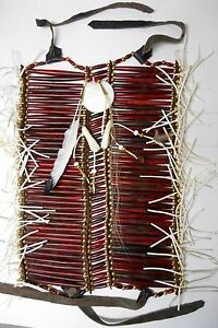 Native-American-Navajo-40-row-Buffalo-Bone-Breast-Plate-BURGUNDY-Breastplate