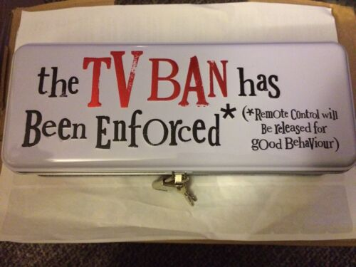 The TV Ban Has Been Enforced Metal Tin//Container//Keep Sake Tin//Remote Control