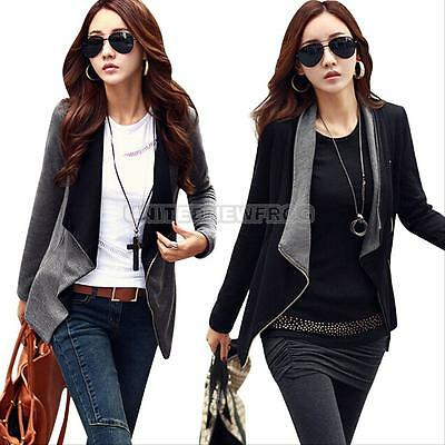 Jacket Womens Slim Blazer Black Fit Outwear Zipper Fashion Casual Coat Outwear