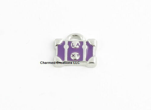 Purple Luggage Purse Tote Bag Silver Tone Floating Charm For Glass Memory Locket
