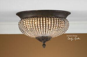 Image Is Loading 15 034 Crystal Beads Bronze Iron Flush Mount